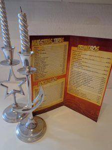 Carta menú Hostelería
