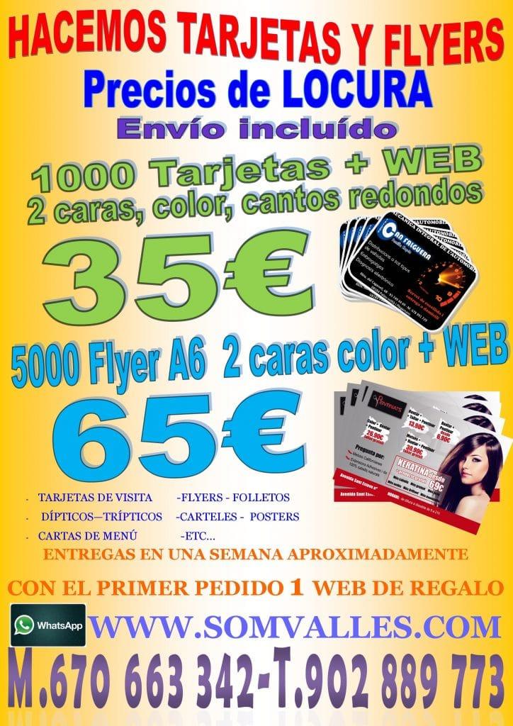 tarjetas de visita, folletos baratos
