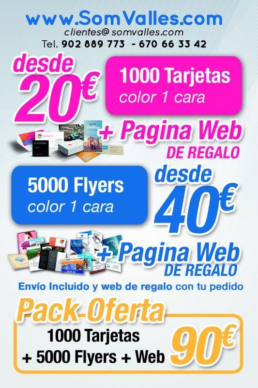 Publicidad compartida - Pack oferta Tarjetas de visita, oferta Flyers